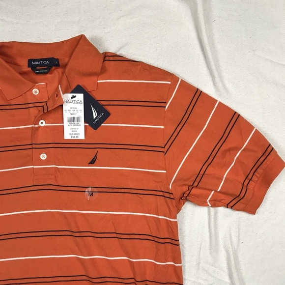 75a3314e07c Nautica Shirts | Nwt Mens Polo Rugby Shirt Orange Striped M | Poshmark
